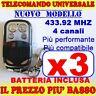 MHZ UNIVERSALE TELECOMANDO 433 CANCELLO 3 GARAGE PER FAAC CAME FADINI jk