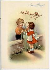 GIBI Springtime Girl & Boy Flowers Bird Vintage PC Circa 1950 Italy
