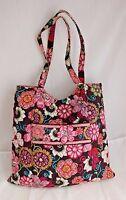 Vera Bradley Mod Floral Pink Brown Villager Tote Large Shoulder Bag EUC