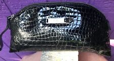NEW Cole Haan Large Dome Croc Patent Leather Wristlet Clutch Black Bag Purse