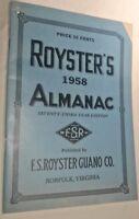Vintage ROYSTER'S ALMANAC 1958 with mailing envelope
