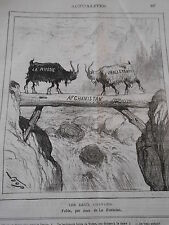 Typo Caricature 1878 - Les deux Chèvres Fable La Fontaine Russie Angleterre