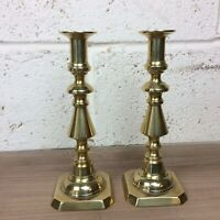 """A Pair c19th Antique Solid Brass Ejector Candlesticks. 9.75"""""""