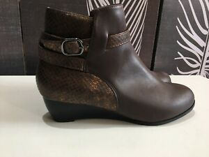 SIZE 5 (38) BROWN WEDGE ANKLE BOOTS WITH BRONZE SNAKESKIN BY DAMART WINTER
