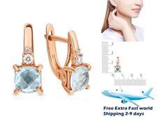 New Earrings Rose Gold 14K 585 Russian Fine Jewelry natural topaz lab diamonds