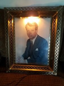Robert F. Kennedy Portrait Photograph by Philippe Halsman in Brass Lighted Frame