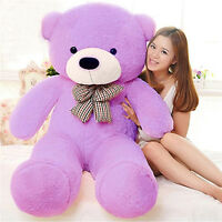 Gift Giant 120CM Big Cute Purple Plush tie Teddy Bear Huge Doll Soft Cotton Toy