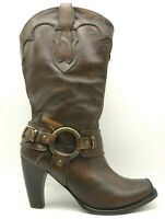 Justin Brown Leather Harness Buckle Block Heel Cowboy Dress Boots Women's 11 B
