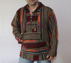 Men's Baja hoodie, Cotton Mexican style pullover, Hippie drug rug jacket