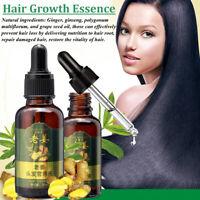 Pousse cheveux Huile Gingembre Essentielle Traitement Anti-chute Sérum unisexe