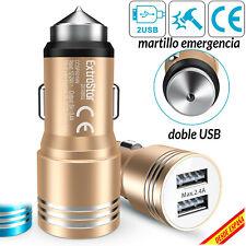 Cargador de Coche 2 Doble USB 2.4A 12-24W c/ Martillo Cristal Adaptador de Carga