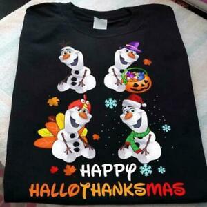 Happy Halloween Thanksgiving Xmas Happy Hallothanksmas Olaf T Shirt Black S_5XL