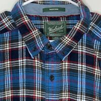 Woolrich Mens Shirt Trout Run Plaid Tall Blue 2XL