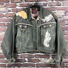 Vintage 1987 Denim Jacket Neo Max Peter Max Size 6 S-M Custom Embellished