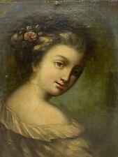 Portrait Jeune Femme & Huile sur Toile & XIX -ème Siècle & Peinture & Elégante