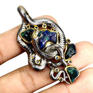 Handmade Black Opal Freeform Cab 10ct Sapphire 925 Sterling Silver Cobra Pendant