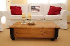 Couchtisch Holzkiste Truhe Vintage Shabby Chic Landhaus Massivholz Braun alt