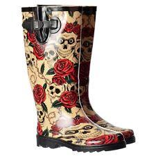 Damen Irre Flach Regenstiefel Wellington Fest Regen Winterstiefel