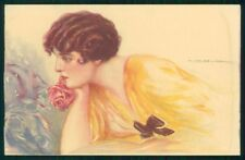 Artist Signed Corbella Glamour Lady WATER STAIN serie 250-1 postcard TC3363