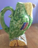Minghetti BOLOGNA ITALY Majolica Pottery Parrot Bottle / Jug - Signed