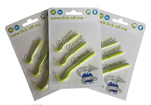 Vetfleece Tick-Off Tick Remover for Dogs Cats Horses Pets - 1 Pack of 3