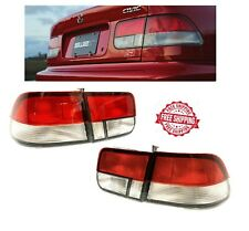 For 1996 2000 Honda Civic 2 door Coupe Si JDM Tail Lights Brake Lamps Red Clear