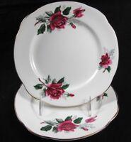 Duchess Pandora Salad Dessert Tea Side Plates Red Roses Gold Trim Set of 2