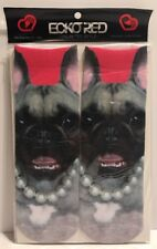 Ecko Red Pug Dog Pearl Necklace Novelty Women Ankle Socks Shoe Size 5-9 New