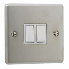 6x Brushed Stainless Steel 10a Double 2 Gang 2 Way Light Plate Switch White