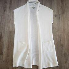 Tyler Boe cashmere sweater vest Size M long drape front with pockets cream