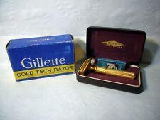 Vintage GILLETTE Gold Tech Razor Traveling Case Original Box Blades New Old NOS