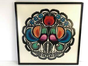 Vintage Circa 1970s Polish Paper Cut Folk Art Design Framed Birds & Flowers