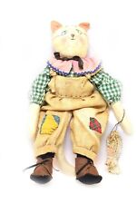 Primitive Handmade Cat Doll Overalls w/ Fish -One of a Kind