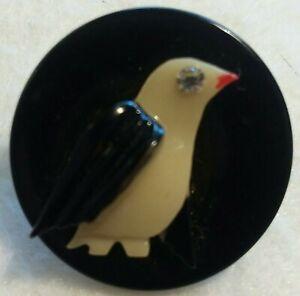 """Vintage Celluloid Penguin Button, 3 dimensional, plastic shank, Paste eye, 1"""""""