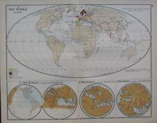 1911 MAP ~ WORLD IN 1490 BARTHOLOMEW DIAZ TRACK MARCO POLO PTOLEMY EDRISI 1154