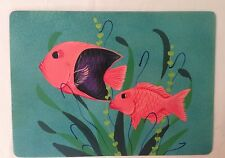 New listing Set of 4 Placemats or Wall Decor - hand painted fish on hardboard artist signed