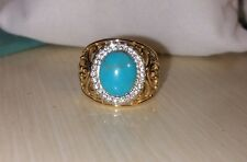 Ross Simons Yellow Gold/Sterling silver Turquoise cutout scroll wide ring