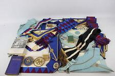 20 x Assorted Vintage Masonic Regalia Inc Aprons, Collars, Jewels, Books Etc