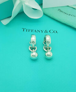 Tiffany & Co. Very RARE Silver Fascination Ball Drop Dangle Clip on Earrings