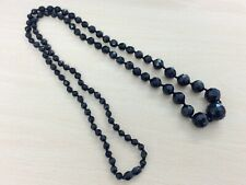 ANTIQUE WHITBY JET STYLE VULCANITE BEAD NECKLACE 1900