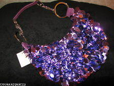 BRAND NEW PURPLE SEQUIN PURSE WITH SILVER HARDWARE