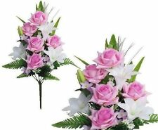 """Lavender White Poly Silk Memorial Rose Lily Flower 20""""Bouquet Cemetery"""