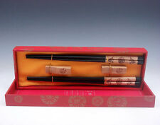 Gift Set 2 Pairs Carp Fishes Blessing Painted Wood Chopsticks & 2 Holder #122116