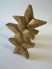 Set of Three Wooden Gold Contoured 3D Star by Shoeless Joe * Christmas Decor