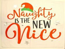 """""""Naughty is the New Nice"""" Standard Pillow Case Red Cotton Flannel - Christmas"""