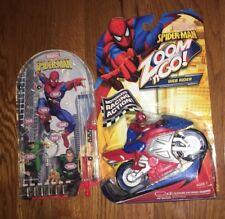 Spider-Man Motorized Racing Web Rider Zoom 'N Go & Pinball Toy Lot