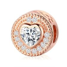 Rose Gold Heart Compassion CZ Charm Bead fits European Bracelets + Gift Bag