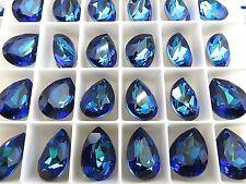 6 Bermuda Blue Swarovski Crystal Stone Pear 4320 14 x 10mm