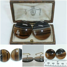 Fine Antique Pair Scottish Banded Agate Cufflinks Gift Boxed