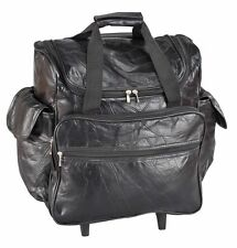 Patch Leather Rolling Bag, Black